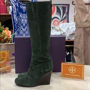 Tory Burch DABNEY-SPLIT SUEDE BOOTS Size 8M